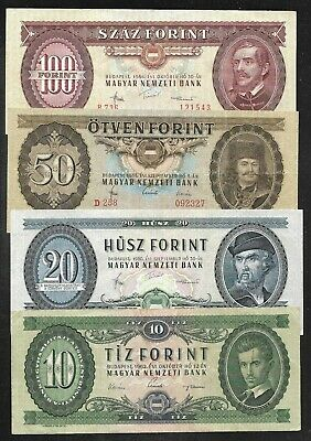 Hungary - 10/20/50/100 Forint Notes - 1962/1984 - P168/69/70/71 - VF & Better
