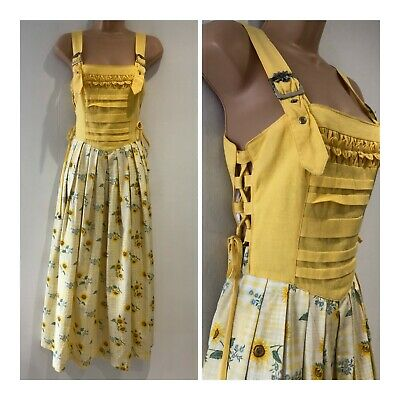 Vintage 80s Yellow Gingham & Sunflower Print Lace Side Pleated Trachten Dress 10