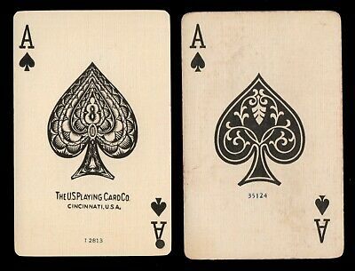 Vintage - ACE OF SPADES / Dog & Deer - Single Swap Playing Trading Cards