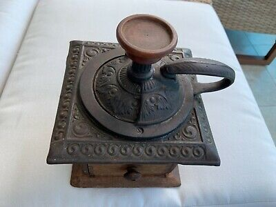 ANTIQUE Country PRIMITIVE  Wood COFFEE GRINDER Cast iron American 19 century