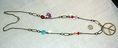 Vintage Nice Long Necklace With Beads And Large Peace Sign