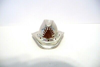 Thimble Pewter Cowboy Hat W/Handpainted Accents In Brown