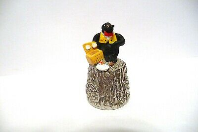 """Thimble Pewter Stephen Frost Handpainted Wind In The Willows """"Mole"""" Topper"""