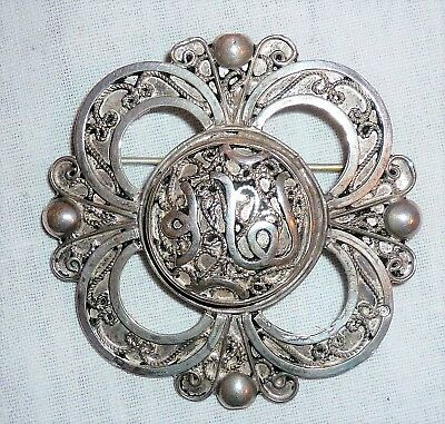 Antique Late 19Th/Early 20Thc Hand Crafted Persian/Islamic Marked Silver Brooch