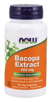 Now Foods BACOPA EXTRACT 450 mg, 90 capsules BRAIN & NERVOUS SYSTEM HEALTH