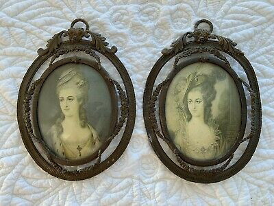 Pair Of Oval Antique French Miniature Frames Neoclassical