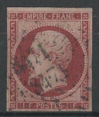 "FRANCE STAMP TIMBRE 18 a "" NAPOLEON III 1F CARMIN FONCE"" OBLITERE TB SIGNE N705"