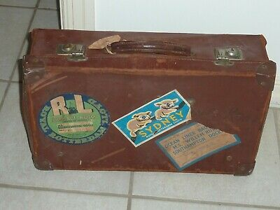 Small Vintage LEATHER SUITCASE with Travel labels Sydney Southampton Docks etc
