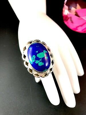 Striking Signed Mexico 925 Sterling Silver Azurmalachite Stone Ring Size 6.75
