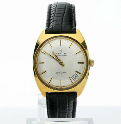 Vintage Zenith Autosport mens watch gold plated date 33 MM automatic cream dial