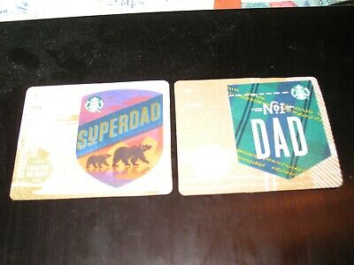 2 Starbucks Fathers Day Standard & Mini Gift Card - Series 6166 Cards - New