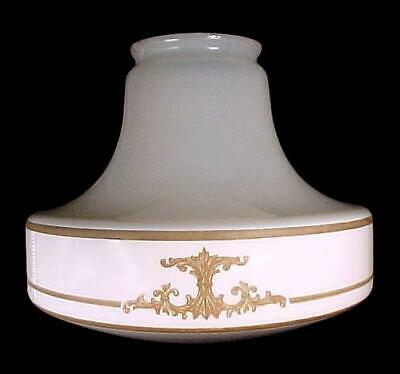 Art Deco White Glass Pendant Light Shade Tan Flat Etched 4 X 8 1/4 X 10 Antique