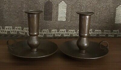 Pair Antique Arts and Crafts Mission Hand Hammered Copper Candlesticks Holders