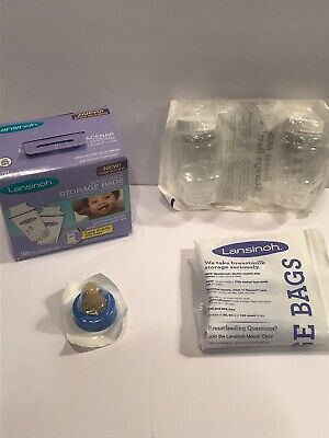 Lansinoh Breastmilk Breast Pump Storage Bags 100 Count Kit W/ Extra Items