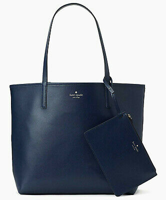 NWT Kate Spade Mya Reversible Leather Tote + Pouch French Navy / Fabric WKRU5701