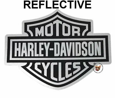 Harley Davidson Reflective Bar & Shield Decal  * Made In Usa * Silver And Black