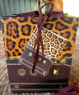 12 Pack Leopard Print 11 X 14 X 6.5Cm Gift Bags With Ribbon Handles & Gift Card