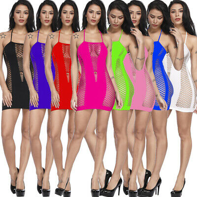 Women Mini Dress Tops Halter Body Stockings Sexy Lingerie Fishnet Sleepwear W319