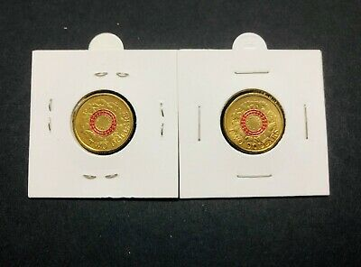 2 x Australian $2 coin - 2015 ANZAC RED Remembrance Lest we Forget - UNC