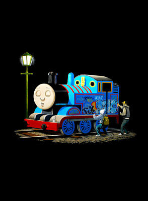 "BANKSY Thomas the Tank Engine Tagged A3 CANVAS PRINT Poster portrait 18""X 12"""