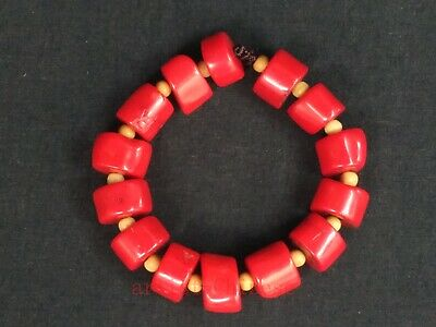 Rare Collection Old China Tibet Natural Coral Bracelet Decoration Wonderful Gift