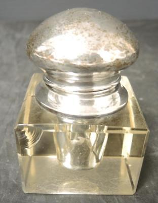 Antique Square Crystal & Sterling Ink Well