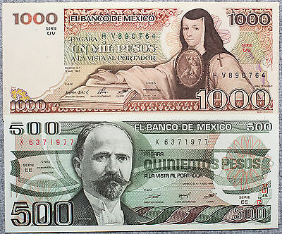 Set of 2 different Mexico 1980's 500 and 1000 Pesos Au-Unc