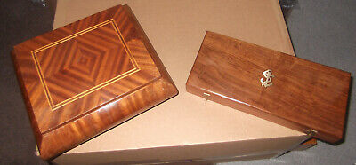 Vintage Boxes - Chunky Hand Made Wooden Box With Inlay -Elegant Slim Box +Anchor