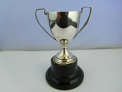 Nice Art Deco English Sterling Silver 2-Handled Miniature Trophy Cup Unengraved