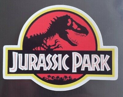 Jurassic park movie logo emblem sticker suitcase, laptop, tablets, mobile, etc