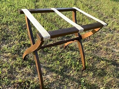 Vintage Wood wooden Folding Hotel Luggage Rack Suitcase Stand Bed Breakfast