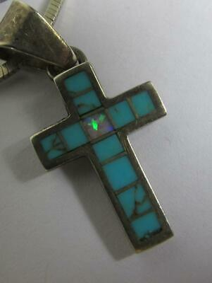 Vintage Sterling Silver Turquoise & Black Opal Cross Pendant With Chain