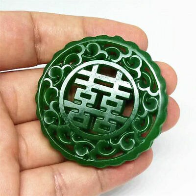 New statue 喜 Amulet Pendant jade engraving Necklace 100% Natural jade Hollow out