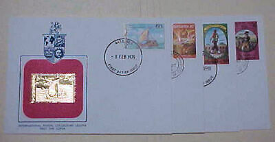 Barbados Fdc 4 Diff. Gold Foil 1979,1980,1981,1982 Cachet Unaddressed