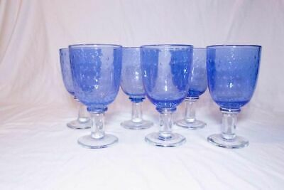 Vintage 1940s Blue and Clear Blown Glass Goblets Set of 6