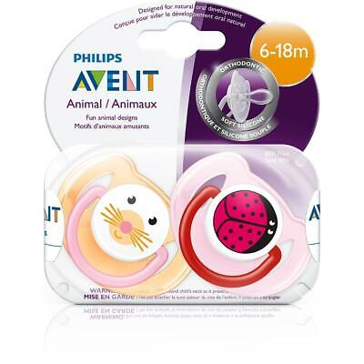 Philips AVENT - Animal Pacifiers, 6-18 Months, 2-Pack - Pink/Orange