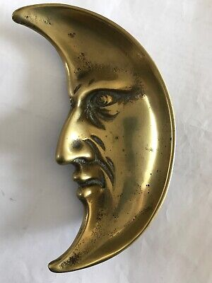 Vintage Brass Man In The Moon Face - Pin / Coin / Ash Tray / Trinket Dish