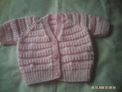 Hand Knitted Baby Girl's Short Sleeve Pink Cardigan Size 3-6 Months.