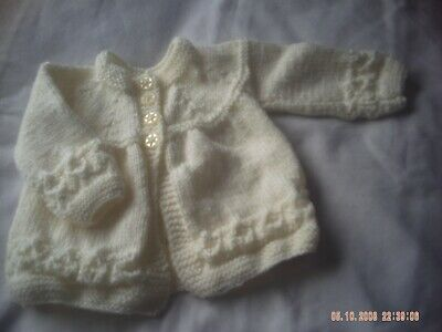Hand Knitted Cream Baby Cardigan/Coat Size 0-3 Months.