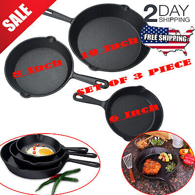 "Set Of 3 Cast Iron Skillet Pre Seasoned 6""8""10"" Stove Oven Fry Pans Cookware Set"