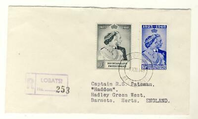 Bechuanaland-1948 Silver Wedding Set On First Day Cover-Lobatsi Postmark