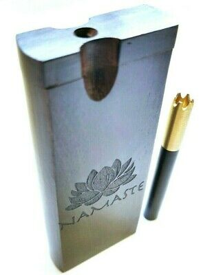 Dugout Stash Box + Ebony Wood Brass Grinder One Hitter Bat w/ Namaste Engraving
