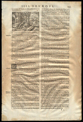French Bible Leaf Lot (10) 4th Kings Dead Body Comes to Life Elisha's Bones.