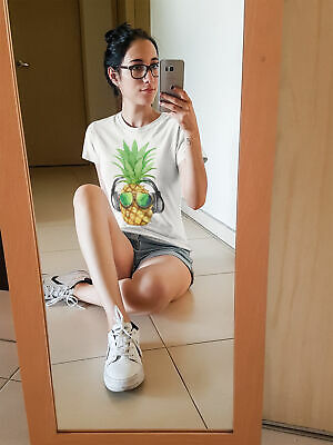 Womens FASHION T-Shirt PINEAPPLE Sunglasses Headphones Summer Funny Hipster Top