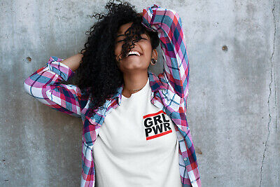 Womens FASHION T-Shirt GRL PWR Chest logo Spice Girls Inspired Girl Power White