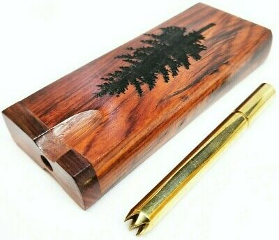 Dugout One Hitter Box - Rosewood Tree Engraving Brass Smoking Pipe, Stash Box
