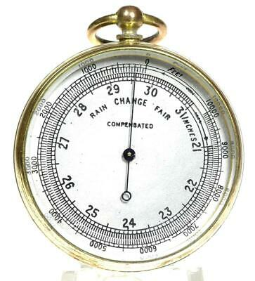 Gilt brass English compensated pocket aneroid barometer & Altimeter + case