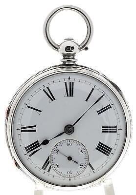 Solid sterling silver English fusee lever pocket watch 1876 cleaned & working