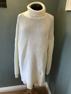 *LANDS' END* very long oversized high neck jumper in cream, size L