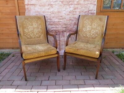 """Lovely Pair Of Vintage """"Strongbow"""" Upholstered Open Armchairs."""